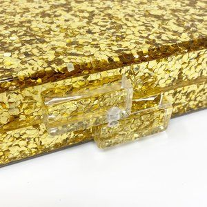 Closet Rehab Bags - Acrylic Party Box in Gold Glitter